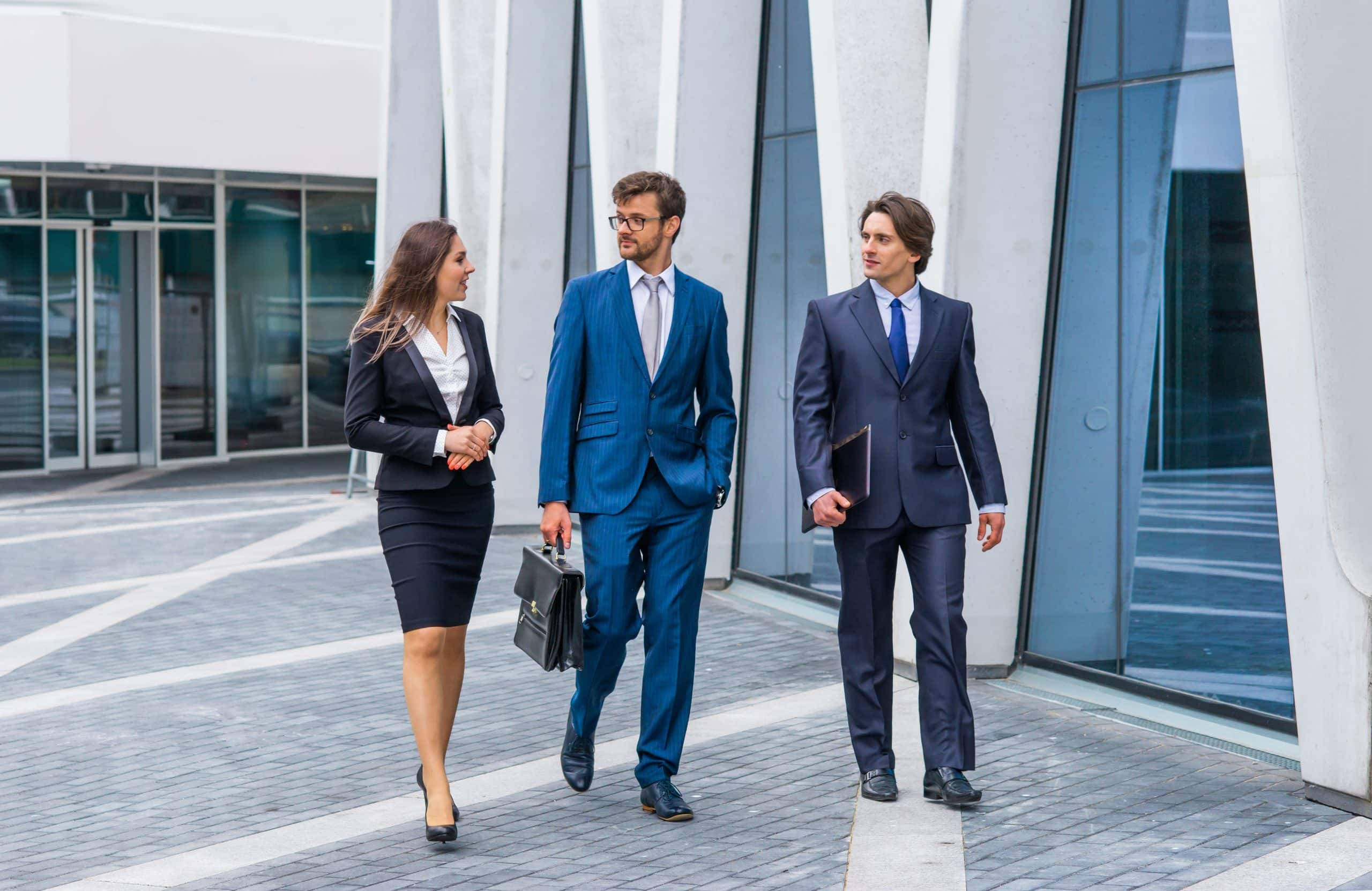 Businessmen and businesswoman have law business conversation